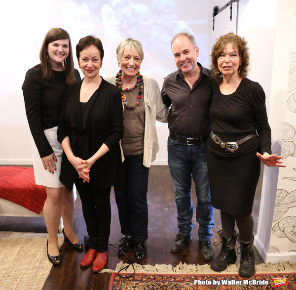 Rachel Routh, Lynn Ahrens, Carol Hall, Stephen Flaherty and Gretchen Cryer attend the Dramatists Guild Fund Music Hall and Office warming party at their new home on April 17, 2015 in New York City.