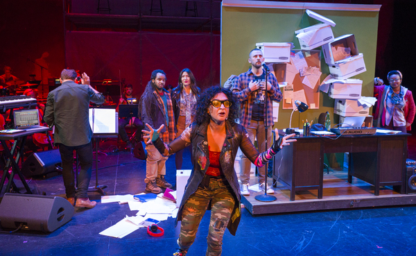 Photo:  Sol Ruiz (Center) in PLACE Created by Ted Hearne, Patricia McGregor, and Saul Williams; Music by Ted Hearne; Libretto by Saul Williams  and Ted Hearne; Directed by Patricia Gregor Dress rehearsal photographed: Thursday, October 11, 2018; 2:30 PM a