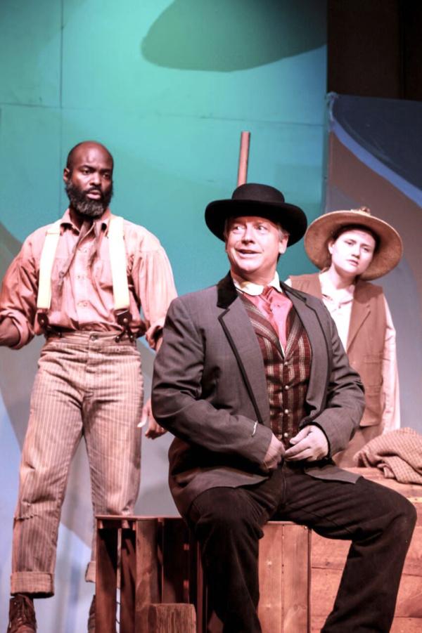 Louis Baker as Jim, James Calvert at The Duke, Heather Taylor as Huck