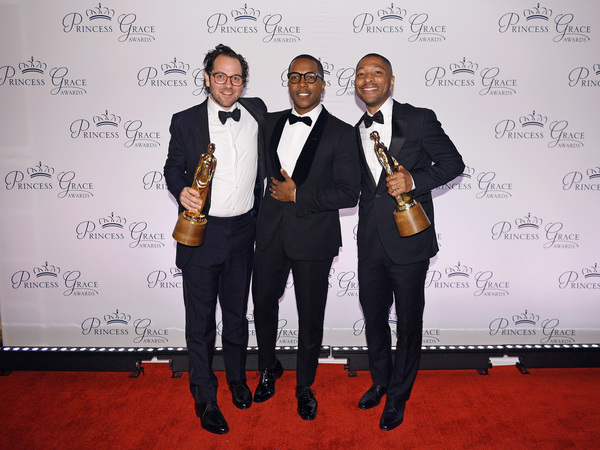 Presenter Leslie Odom Jr. with honorees Honorees Sam Gold and Kyle Abraham