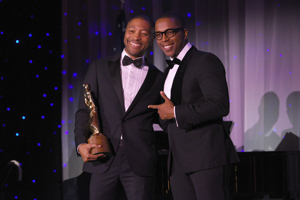 Honoree Kyle Abraham (2018 Princess Grace Statue Award Recipients) accepts his award from presenter Leslie Odom Jr.
