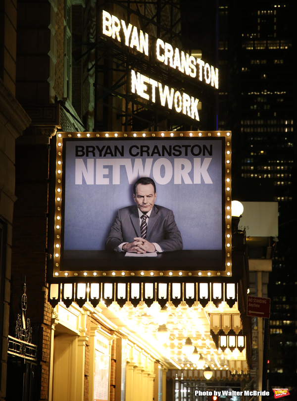 """Theatre Marquee for """"Network"""" starring Bryan Cranston and directed by Ivo van Hove"""