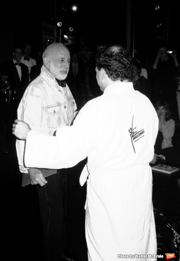 "Jerome Robbins and Jason Alexander attend the Broadway Opening Night Gypsy Robe Ceremony for ""Jerome Robbins Broadway"" on February 26, 1989 at the Imperial Theatre in New York City."