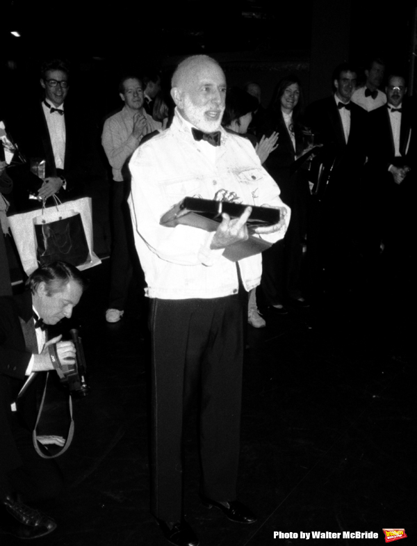 "Jerome Robbins attends the Broadway Opening Night Gypsy Robe Ceremony for ""Jerome Robbins Broadway"" on February 26, 1989 at the Imperial Theatre in New York City."