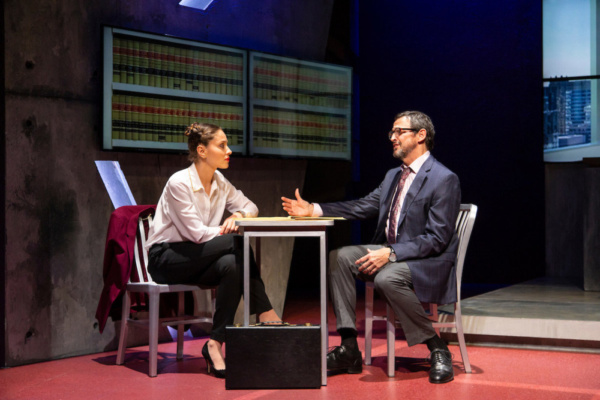 (L to R) Margarita Levieva and Peter Frechette in Walter Anderson's world premiere courtroom drama, The Trial of Donna Caine, at George Street Playhouse, October 16 - November 11. Photo by T. Charles