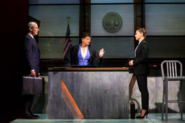 (L to R) John Bolger, Melissa Maxwell, and Margarita Levieva in Walter Anderson's world premiere courtroom drama, The Trial of Donna Caine, at George Street Playhouse, October 16 - November 11. Photo