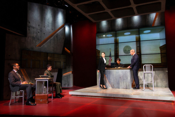 (L to R) Peter Frechette, Flor De Liz Perez, Margarita Levieva, Melissa Maxwell, and John Bolger in Walter Anderson's world premiere courtroom drama, The Trial of Donna Caine, at George Street Playh