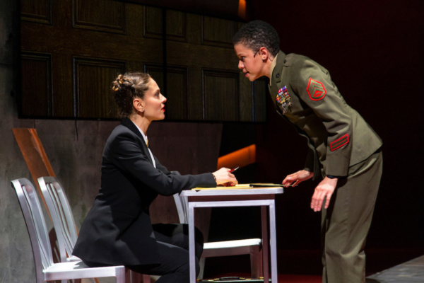 (L to R) Margarita Levieva and Flor De Liz Perez in Walter Anderson's world premiere courtroom drama, The Trial of Donna Caine, at George Street Playhouse, October 16 - November 11. Photo by T. Charle