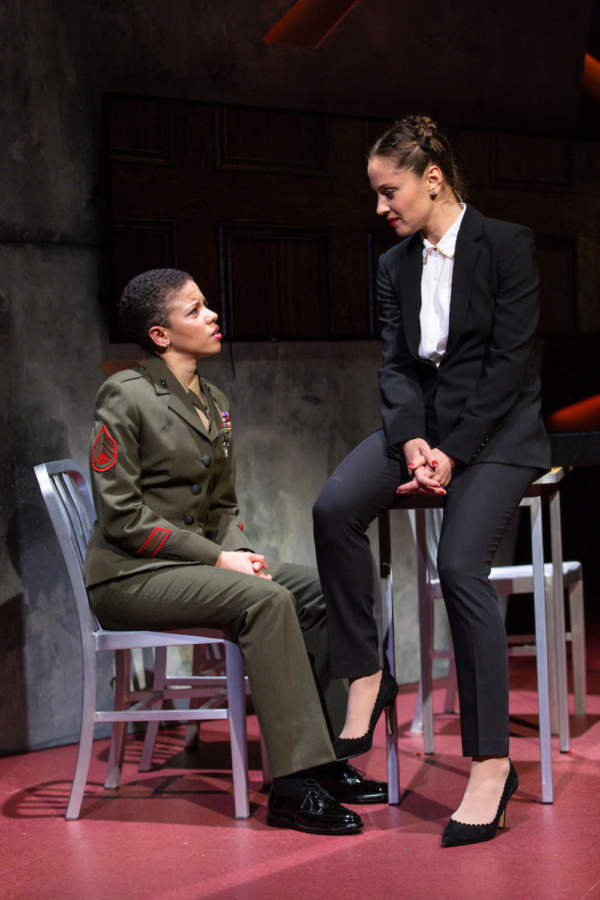 (L to R) Flor De Liz Perez and Margarita Levieva in Walter Anderson's world premiere courtroom drama, The Trial of Donna Caine, at George Street Playhouse, October 16 - November 11. Photo by T. Charle