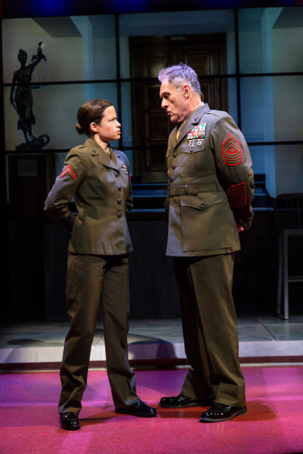 (L to R) Kally Duling and Michael Cullen in Walter Anderson's world premiere courtroom drama, The Trial of Donna Caine, at George Street Playhouse, October 16 - November 11. Photo by T. Charles Eric