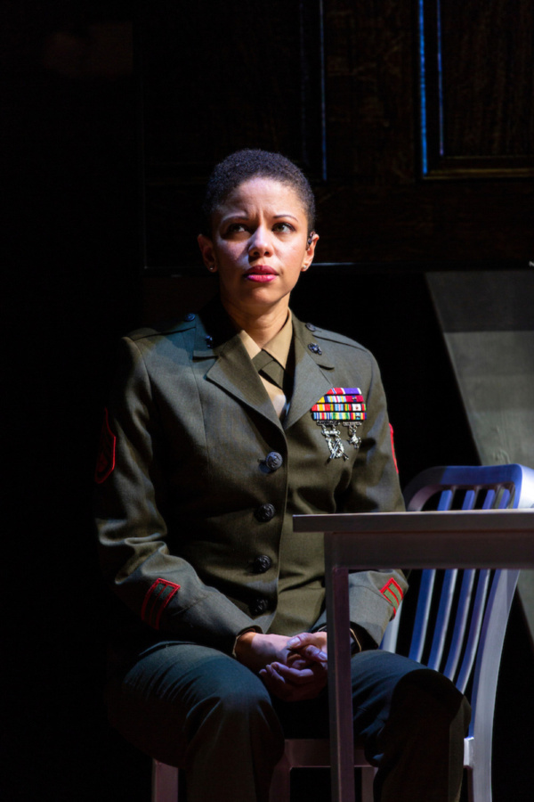 Flor De Liz Perez in Walter Anderson's world premiere courtroom drama, The Trial of Donna Caine, at George Street Playhouse, October 16 - November 11. Photo by T. Charles Erickson