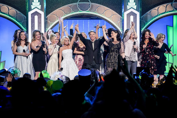 Kristin Chenoweth, Stephen Schwartz, and Idina Menzel with former and current Glindas and Elphabas