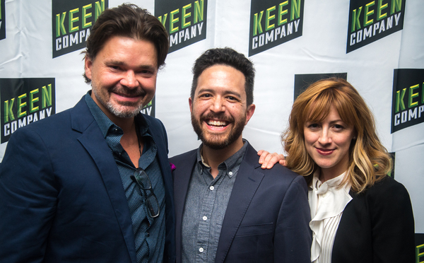 Hunter Foster and Kate Wetherhead pictured here with Adam Gwon Photo