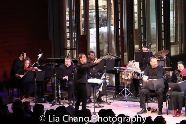 The Band: Griffin Strout (Piano), Kiku Enomoto (Violin), Josh Johnson (Reeds), Kirsten Lee Rosenfeld (Conductor), Clyde Daley (Trumpet), Matt Covey (Percussion)