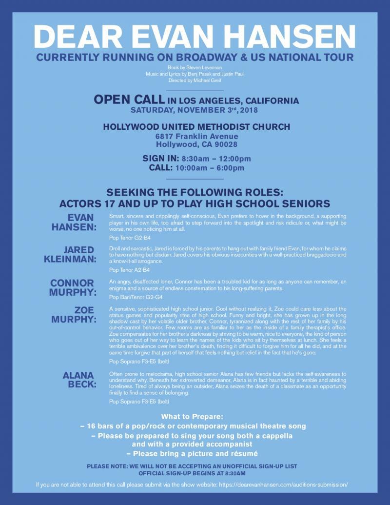 DEAR EVAN HANSEN Holds Open Calls in NYC and LA