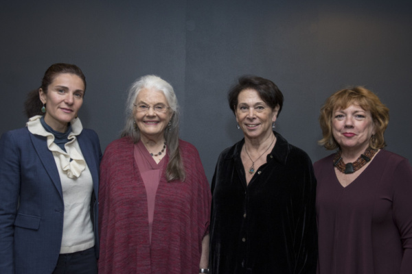 Sophia Romma, Lois Smith, Linda Winer, and Paula Ewin pose for a photo before the interview begins.  Photo credit: Ashley Garrett Photography