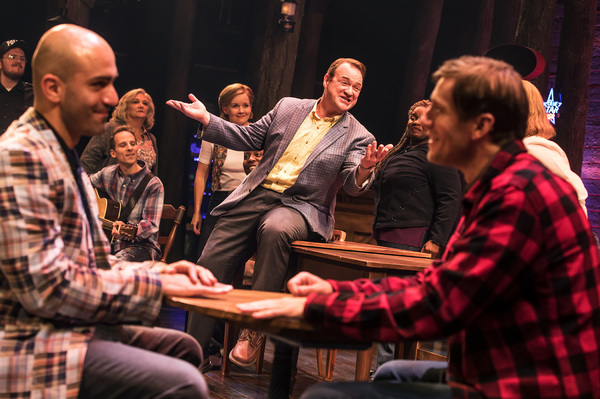 Nick Duckart, Kevin Carolan, Andrew Samonsky and Company in the First North American Tour of COME FROM AWAY. Photo by Matthew Murphy