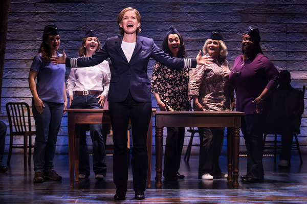 Megan McGinnis, Emily Walton, Becky Gulsvig, Christine Toy Johnson, Julie Johnson and Danielle K. Thomas in The First North American Tour Company of COME FROM AWAY. Photo by Matthew Murphy