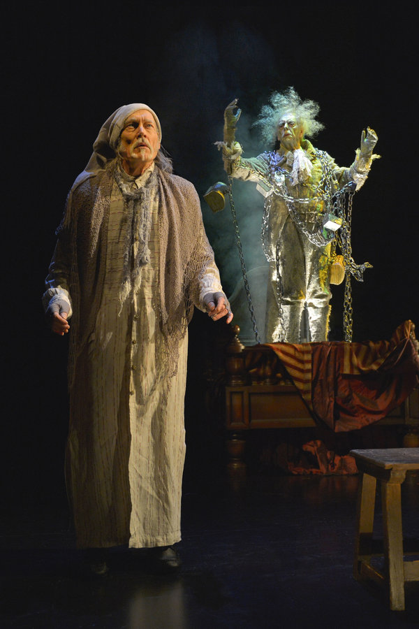 James Carpenter (left) as Ebenezer Scrooge (at select performances) and Ken Ruta as the Ghost of Jacob Marley