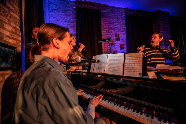 "Erik Pearson as �""Gideon"" at piano (L to R);behind piano (L to R) Darilyn  Photo"