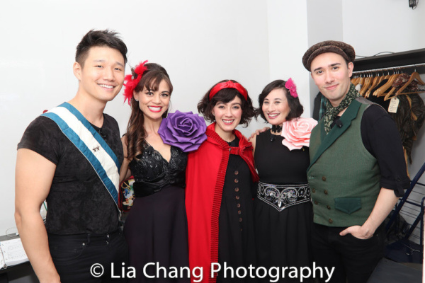 Backstage: Daniel Johnson (Rapunzel's Prince), Kimbirdlee Fadner (Florinda), Alex Chester Little Red Riding Hood), Rebecca Lee Lerman (Lucinda) and Kennedy Kanagawa (Jack)