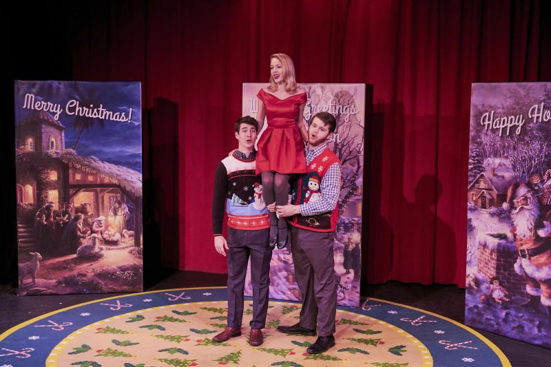 Photo 2. Mariah Olesen, Dylan Reilly Fitzpatrick and Koppany Pusztai brighten up the Holiday Season at the Adobe Rose Theatre. Photo by Lynn Roylance.
