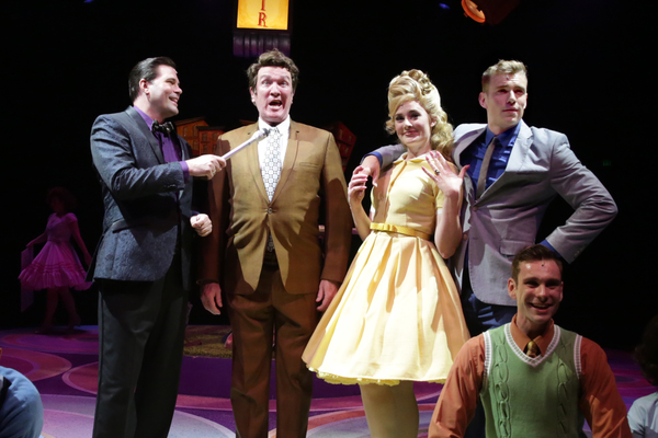 Marty McNamee (Corny Collins), Kevin B. McGlynn (Harriman F. Spritzer), Marie Eife (Amber Von Tussle), and Zane Phillips (Link Larkin)