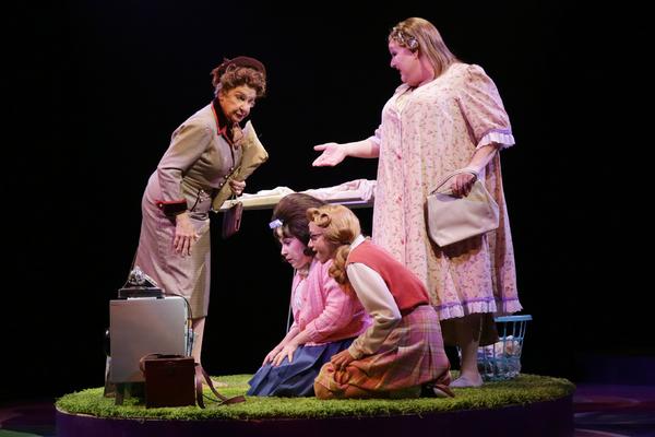 Cheryl McMahon (Prudy Pingleton) and Blake Hammond (Edna Turnblad) with Brooke Shapiro (Tracy Turnblad) and Christina Emily Jackson (Penny Pingleton) in HAIRSPRAY
