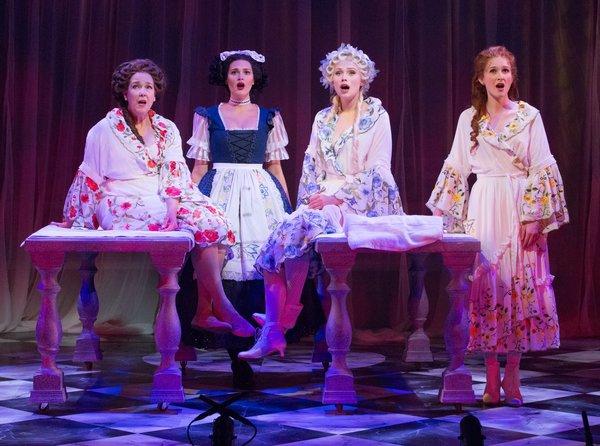 Harriet Harris (Mrs. Malaprop), Emma Stratton (Lucy), Charlotte Maltby (Julia Melville), Erin Mackey (Lydia Languish)