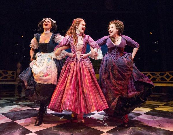 Emma Stratton (Lucy), Erin Mackey (Lydia Languish), Harriet Harris (Mrs. Malaprop)