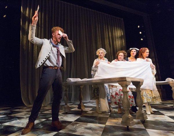 Joe Veale (Thomas), Charlotte Maltby (Julia Melville), Harriet Harris, Emma Stratton (Lucy), Erin Mackey (Lydia Languish)