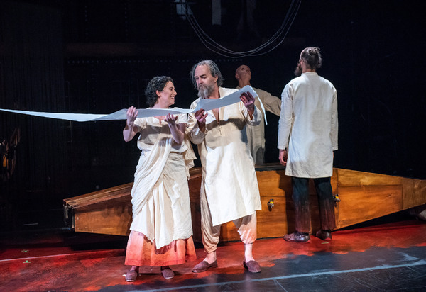 "Karolina Blixt and Johan Schinkler in Folkoperan/ Cirkus Cirkor production of Philip Glass' Opera ""Satyagraha"" at the BAM Harvey Theater on October 31-November 4, 2018, part of the Next Wave Festival. Photo Credit: Stephanie Berger."