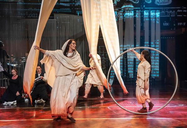 "Karolina Blixt and Sarah Lett in Folkoperan/ Cirkus Cirkor production of Philip Glass' Opera ""Satyagraha"" at the BAM Harvey Theater on October 31-November 4, 2018, part of the Next Wave Festival. Photo Credit: Stephanie Berger."