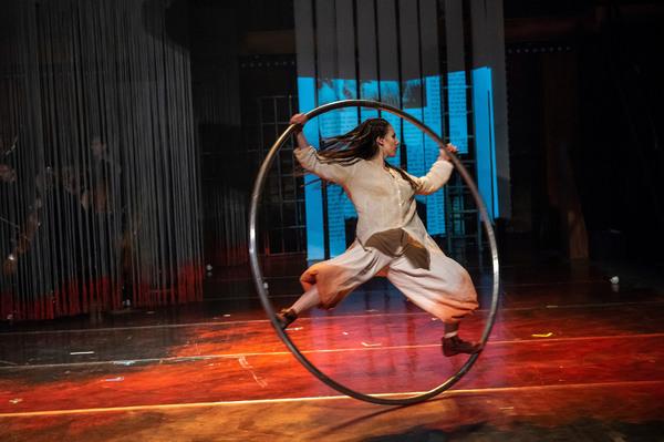 "Sarah Lett in Folkoperan/ Cirkus Cirkor production of Philip Glass' Opera ""Satyagraha"" at the BAM Harvey Theater on October 31-November 4, 2018, part of the Next Wave Festival. Photo Credit: Stephanie Berger."