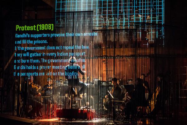 "Folkoperan/ Cirkus Cirkor perform Philip Glass' Opera ""Satyagraha"" at the BAM Harvey Theater on October 31-November 4, 2018, part of the Next Wave Festival. Photo Credit: Stephanie Berger."