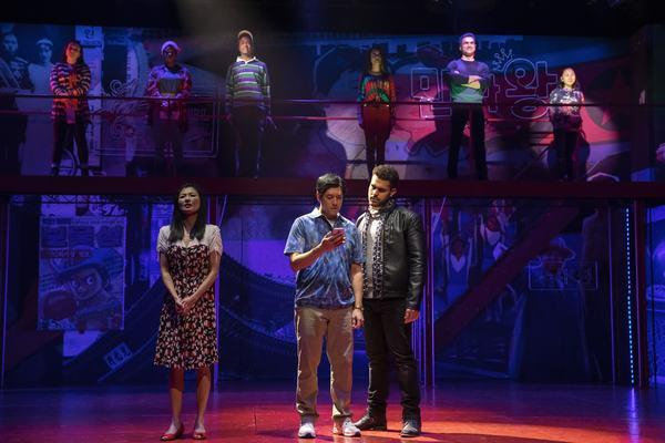 Michelle Krusiec,Peter Kim, andJoel Perez. Photo Credit:Joan Marcus