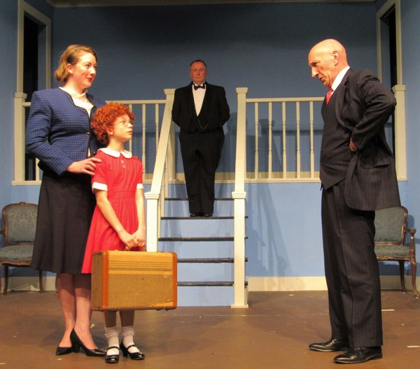 Fergus Milton L to R- Ali Mitchell, Bobbie Doherty, Michael Thurber (Daddy Warbucks) Photo