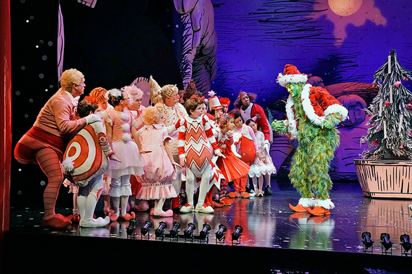 Edward Watts with the cast of Dr. Seuss's How the Grinch Stole Christmas!