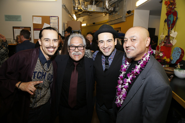 From left, cast member Michael Naydoe Pinedo, writer/director Luis Valdez, cast member Moises Castro and associate director Kinan Valdez