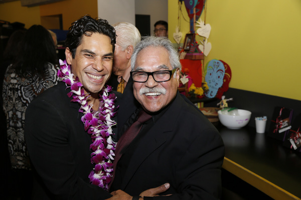 From left, cast member Lakin Valdez and writer/director Luis Valdez  Photo