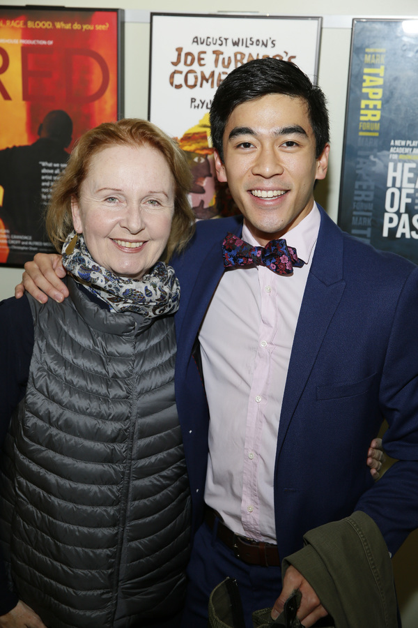 Actor Kate Burton and cast member Justin Chien