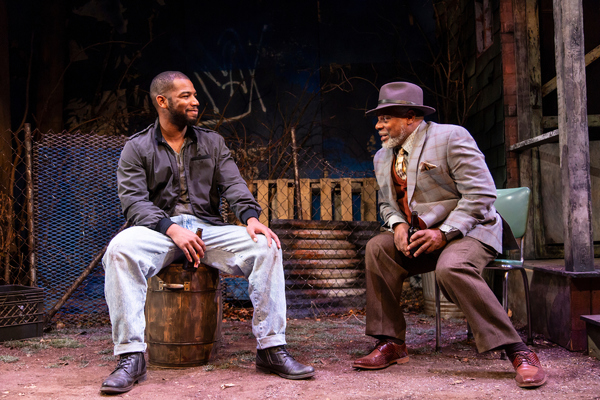 Blake Morris (King Hedley II) and Harvy Blanks (Elmore) in August Wilson's King Hedley II at Two River Theater. Photo Credit: T. Charles Erickson