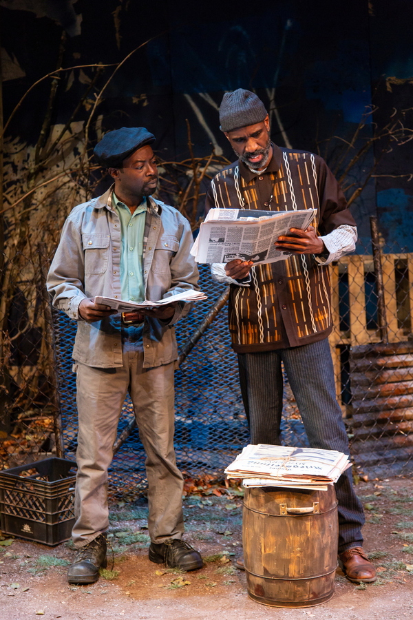 Charlie Hudson III (Mister) and Brian D. Coats (Stool Pigeon) in August Wilson's King Hedley II at Two River Theater
