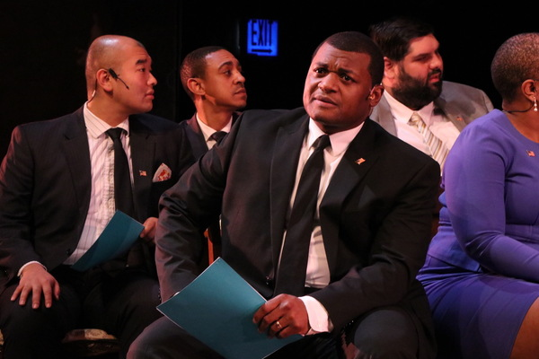 Kelvin Roston Jr. as John Adams and the ensemble cast of Porchlight Revisits 1776