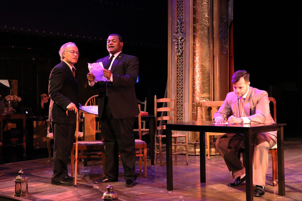 Joseph Anthony Foronda as Benjamin Franklin, Kelvin Roston Jr. as John Adams and Robert Quintanilla as Thomas Jefferson in Porchlight Revisits 1776