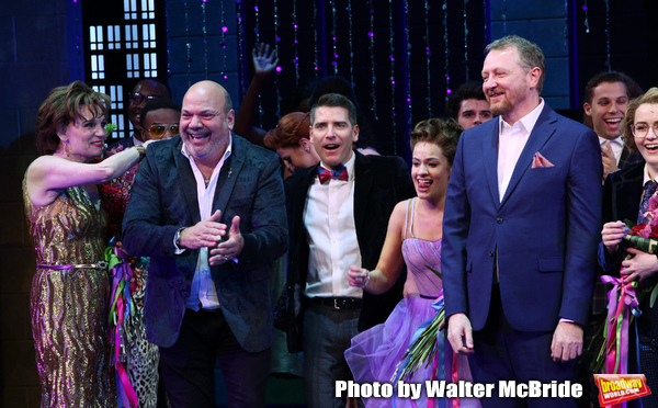 Casey Nicholaw, Chad Beguelin and Bob Martin with the cast