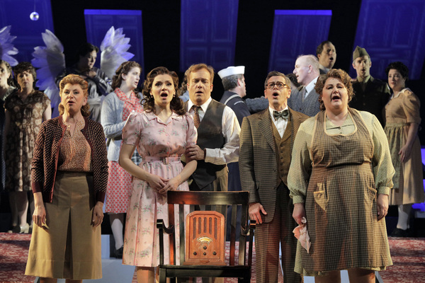 Carole Schaffer as Helen Bailey, Andriana Chuchman as Mary Hatch, William Burden as George Bailey, Keith Jameson as Uncle Billy Bailey and Catherine Cook as Mother Bailey