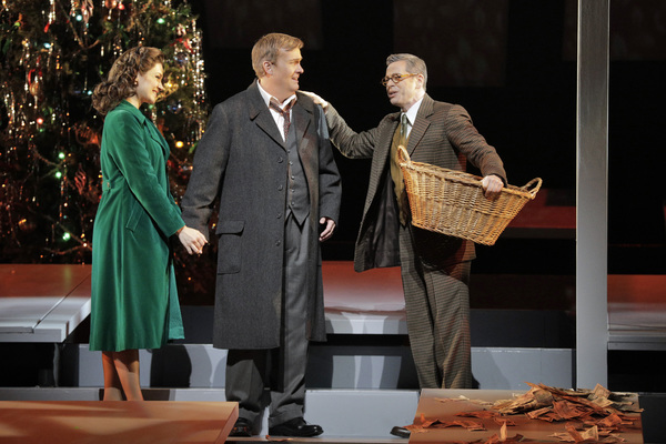 Andriana Chuchman as Mary Hatch, William Burden as George Bailey and Keith Jameson as Photo