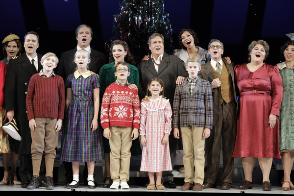 Joshua Hopkins as Harry Bailey, Rod Gilfry as Mr. Potter, Andriana Chuchman as Mary Hatch, William Burden as George Bailey, Golda Schultz as Clara, Keith Jameson as Uncle Billy Bailey, Catherine Cook as Mother Bailey, (front) Joshua Partlow, Violet Pasmoo