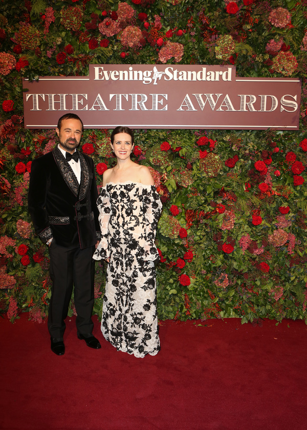 Evgeny Lebedev (L) and Claire Foy